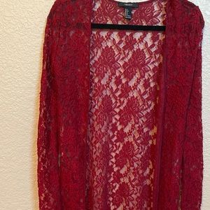 Forever 21 Red Lace Long Cardigan